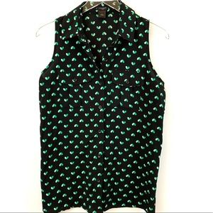 Ann Taylor Tank Style Blouse with Green Hearts